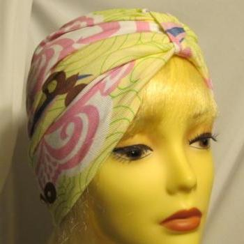 Citrus Print Pinks Yellow Soft Knit Chemo Turban Headcover Cap Alopecia Hijab - Free Shipping in the USA