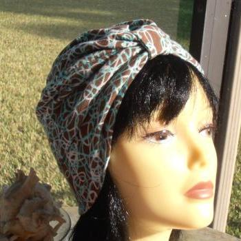 Scribbles Taupe with White Turquoise Print Soft Knit Chemo Turban Headcover Cap Alopecia Hijab - Free Shipping in the USA