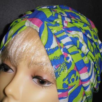 Lime Pink Blue Animal Print Soft Knit Chemo Turban Headcover Cap Alopecia Hijab - Free Shipping in the USA