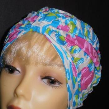 Hearts on Lime Blue White Animal Print Soft Knit Chemo Turban Headcover Cap Alopecia Hijab - Free Shipping in the USA